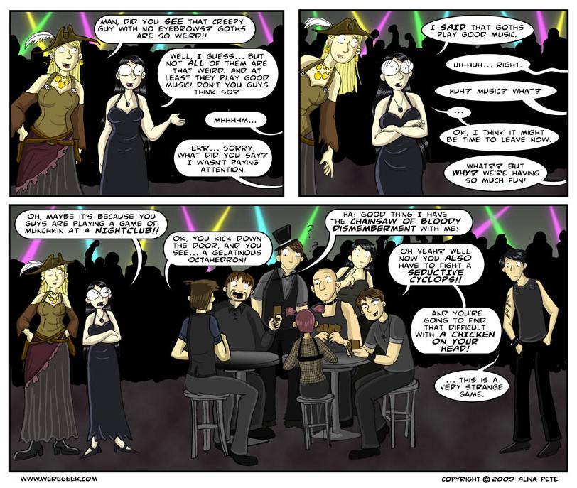 Gamin' at the goth club