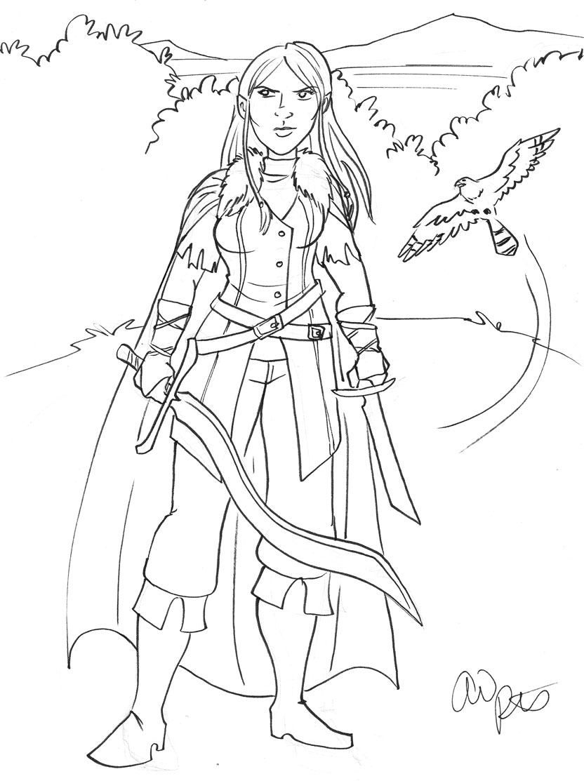 Sketch Friday: Half-elven ranger